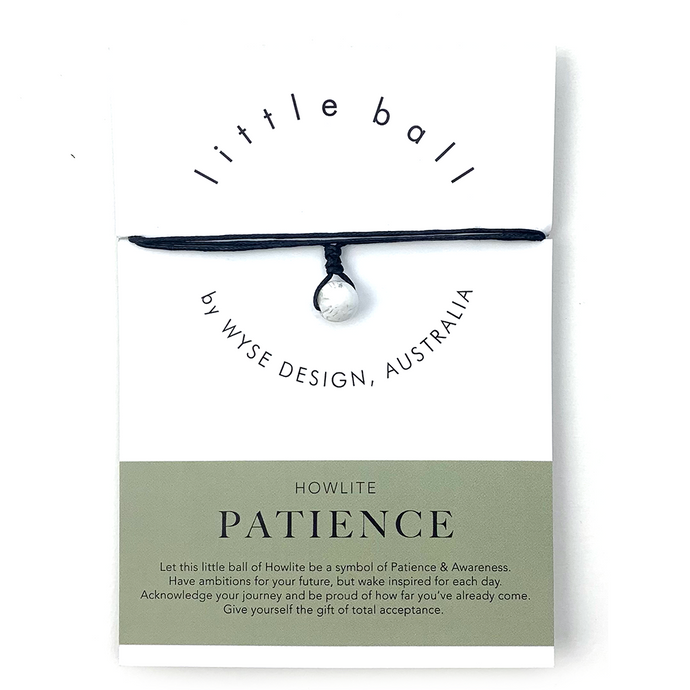 Wyse Design little ball Patience wellness Howlite crystal necklace black