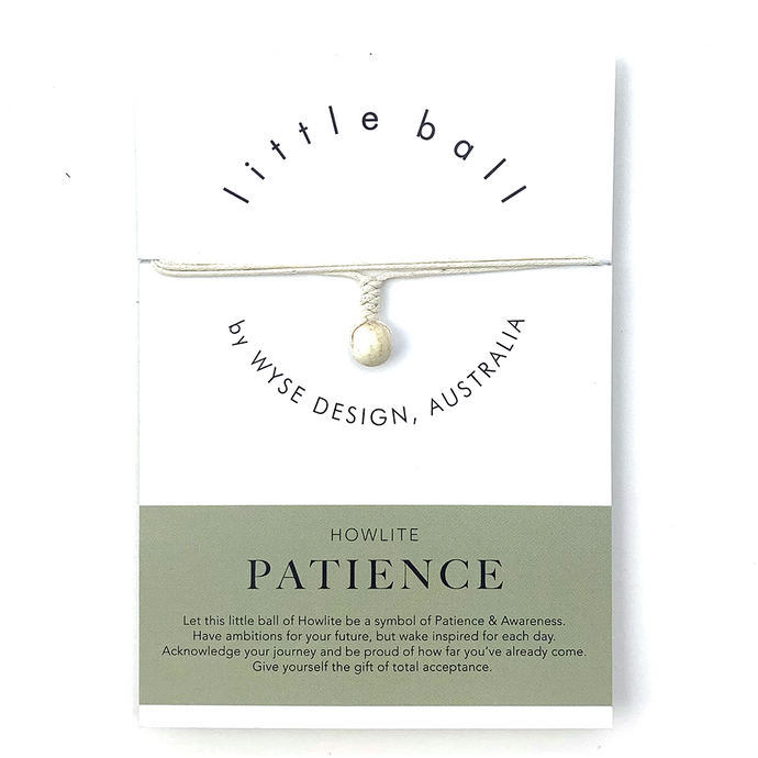 Wyse Design little ball Patience wellness Howlite crystal necklace gift card cream