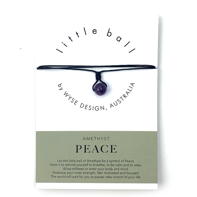 Wyse Design little ball Peace wellness Amethyst crystal necklace gift card Black