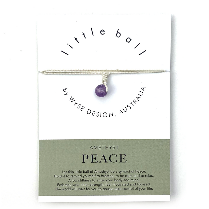 Wyse Design little ball Peace wellness Amethyst crystal necklace gift card Cream