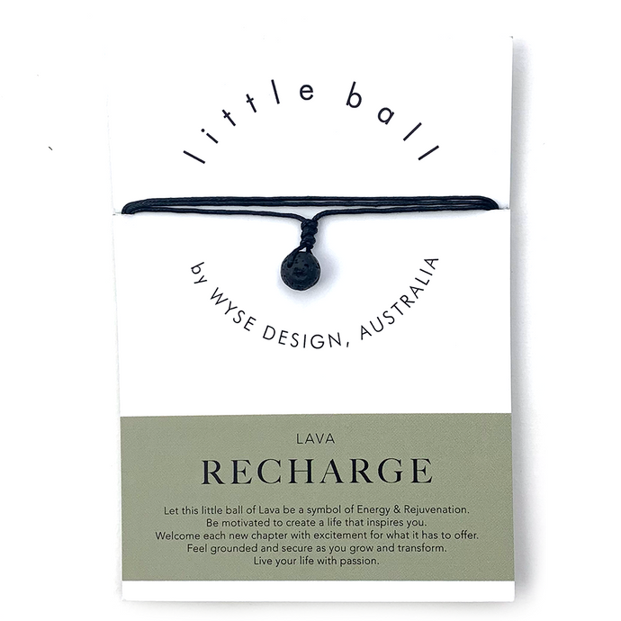 Wyse Design little ball Recharge wellness Lava crystal necklace gift card Black