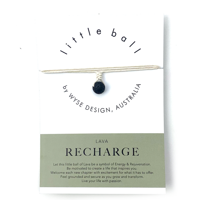 Wyse Design little ball Recharge wellness Lava crystal necklace gift card Cream