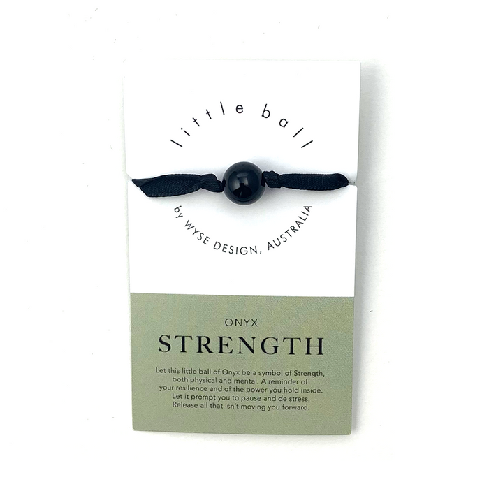 Wyse Design little ball Strength wellness Onyx crystal ribbon bracelet gift card Black
