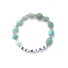 Load image into Gallery viewer, Wyse Design Australia Personalised acrylic letter Crystal Bracelet 18k gold silver rose gold bespoke custom made jewellery amazonite