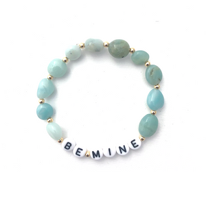 Wyse Design Australia Personalised acrylic letter Crystal Bracelet 18k gold silver rose gold bespoke custom made jewellery amazonite