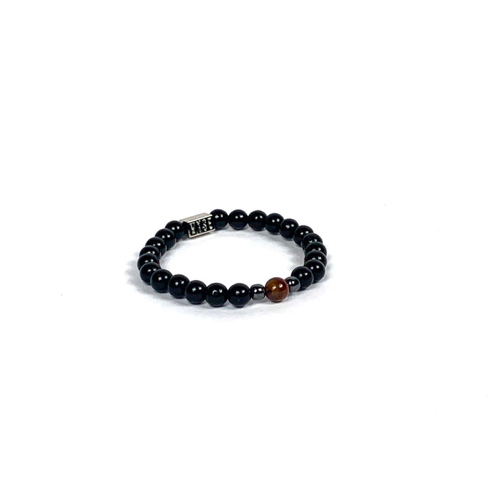 Wyse Design | Bespoke Crystal Bracelet | Spring/Summer 2020 Leadership collection Balance - Hematite, Red Tiger Eye, Lava, Black Obsidian crystals