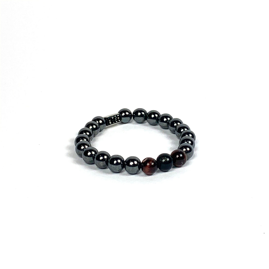 Wyse Design | Bespoke Crystal Bracelet | Spring/Summer 20 Determination collection Balance - Hematite, Red Tiger Eye, Lava, Black Obsidian crystals