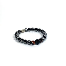 Load image into Gallery viewer, Wyse Design | Bespoke Crystal Bracelet | Spring/Summer 20 Determination collection Balance - Hematite, Red Tiger Eye, Lava, Black Obsidian crystals