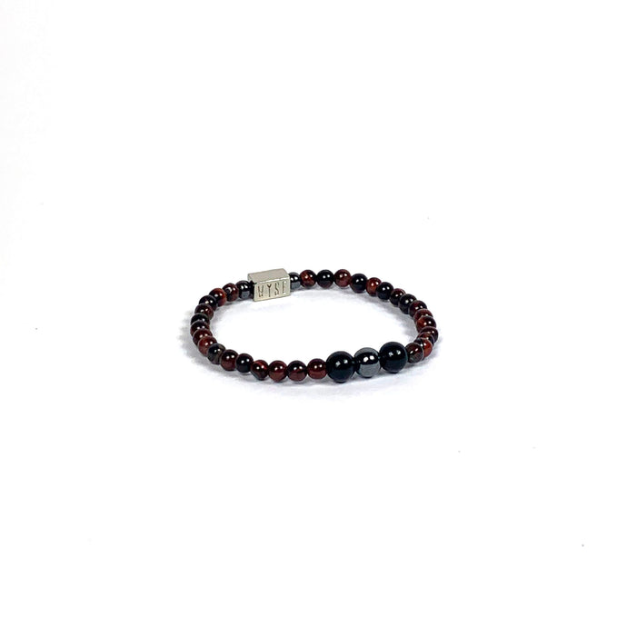 Wyse Design | Bespoke Crystal Bracelet | Spring/Summer 2020 Optimism collection Balance - Hematite, Red Tiger Eye, Lava, Black Obsidian crystals