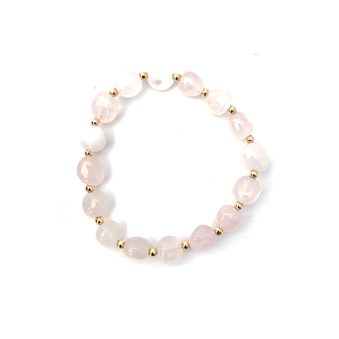 Wyse Design Australia Rose Quartz Crystal bracelet 18k gold plated jewellery