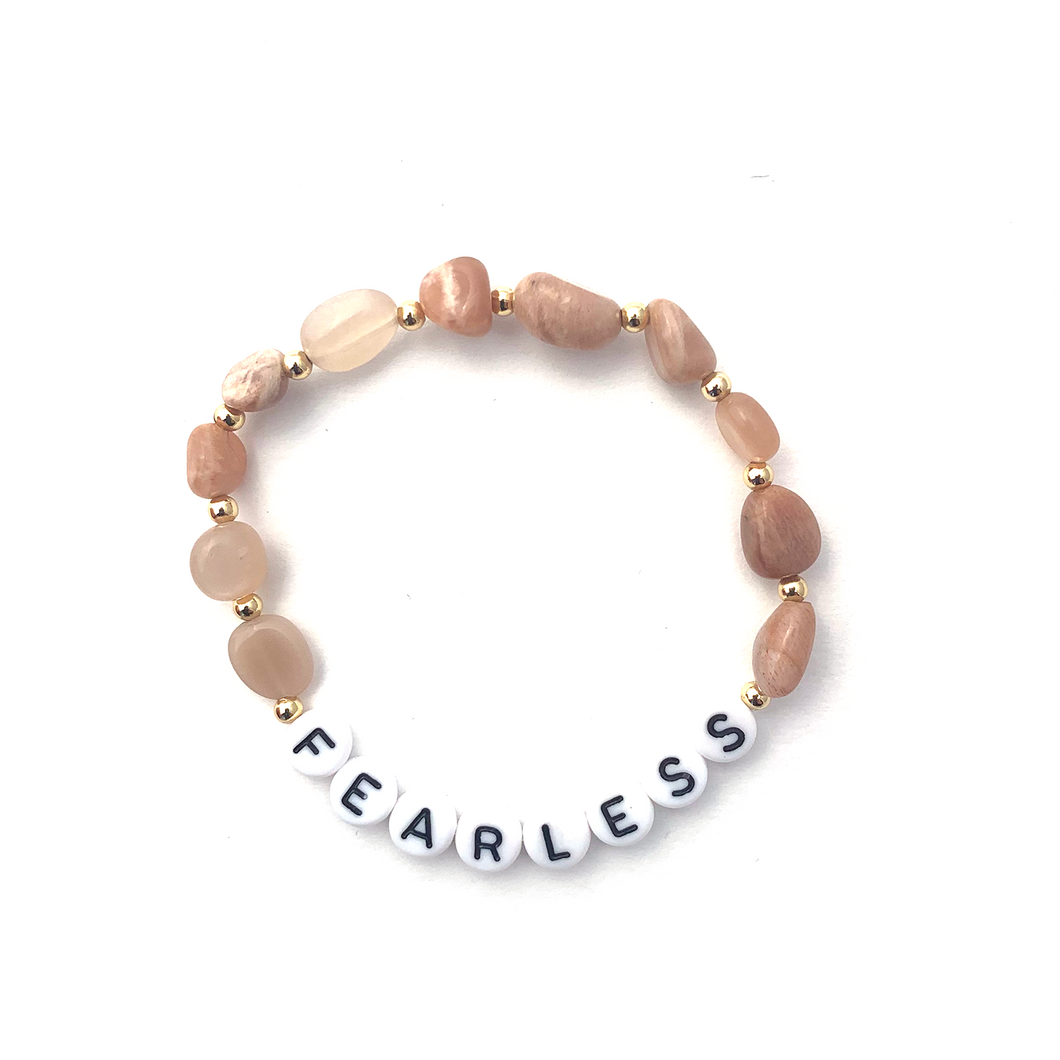 Sunstone FEARLESS Crystal Intention Bracelet - Black/Gold