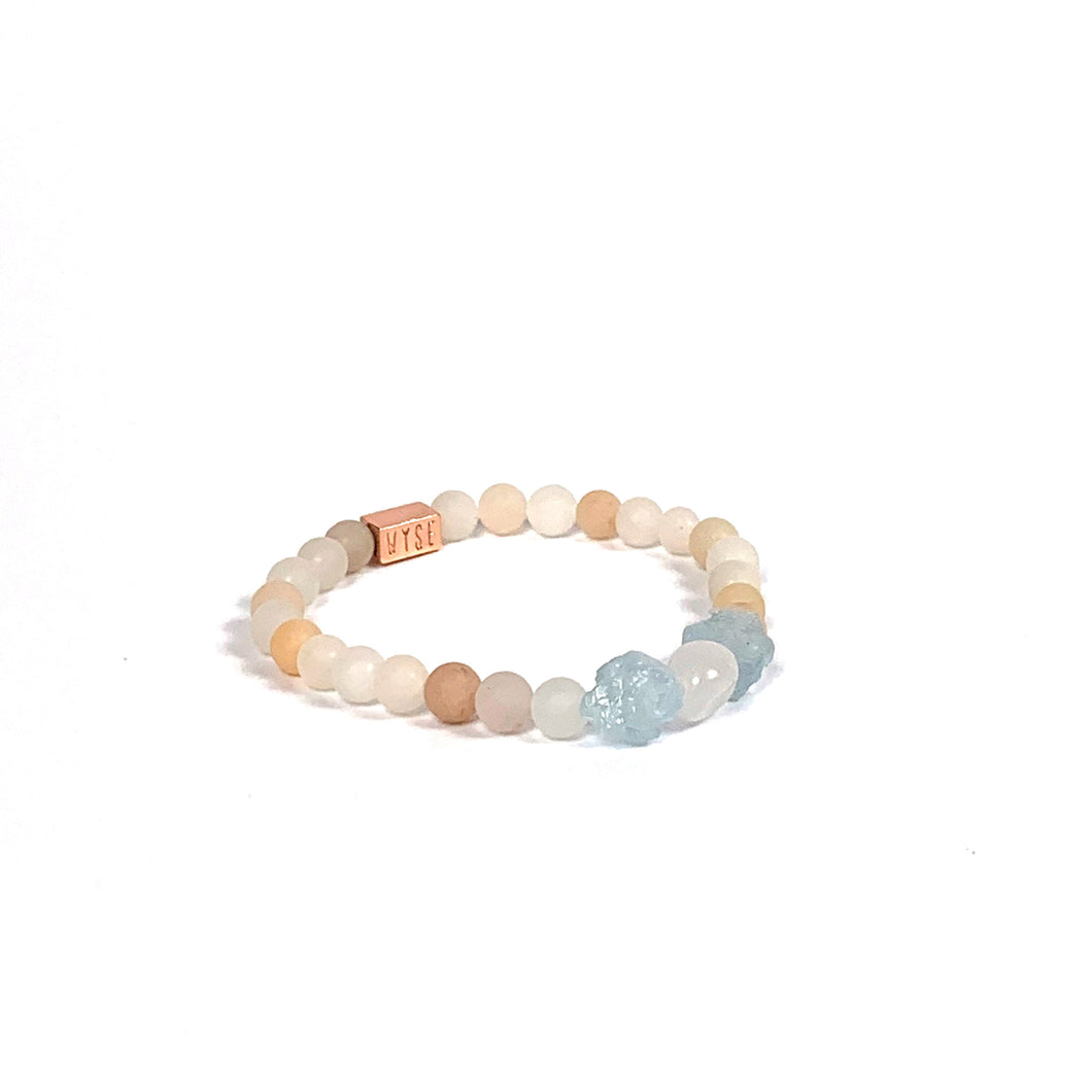 Wyse Design | Bespoke Crystal bracelet | Spring/Summer 2020 Harmony collection Happiness bracelet - Pink Aventurine, Rose Quartz, Aquamarine