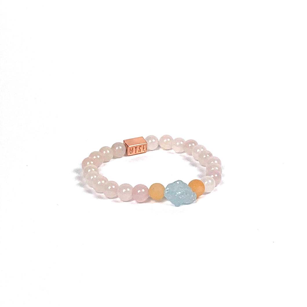 Wyse Design | Bespoke Crystal bracelet | Spring/Summer 2020 Harmony collection Love bracelet - Pink Aventurine, Rose Quartz, Aquamarine