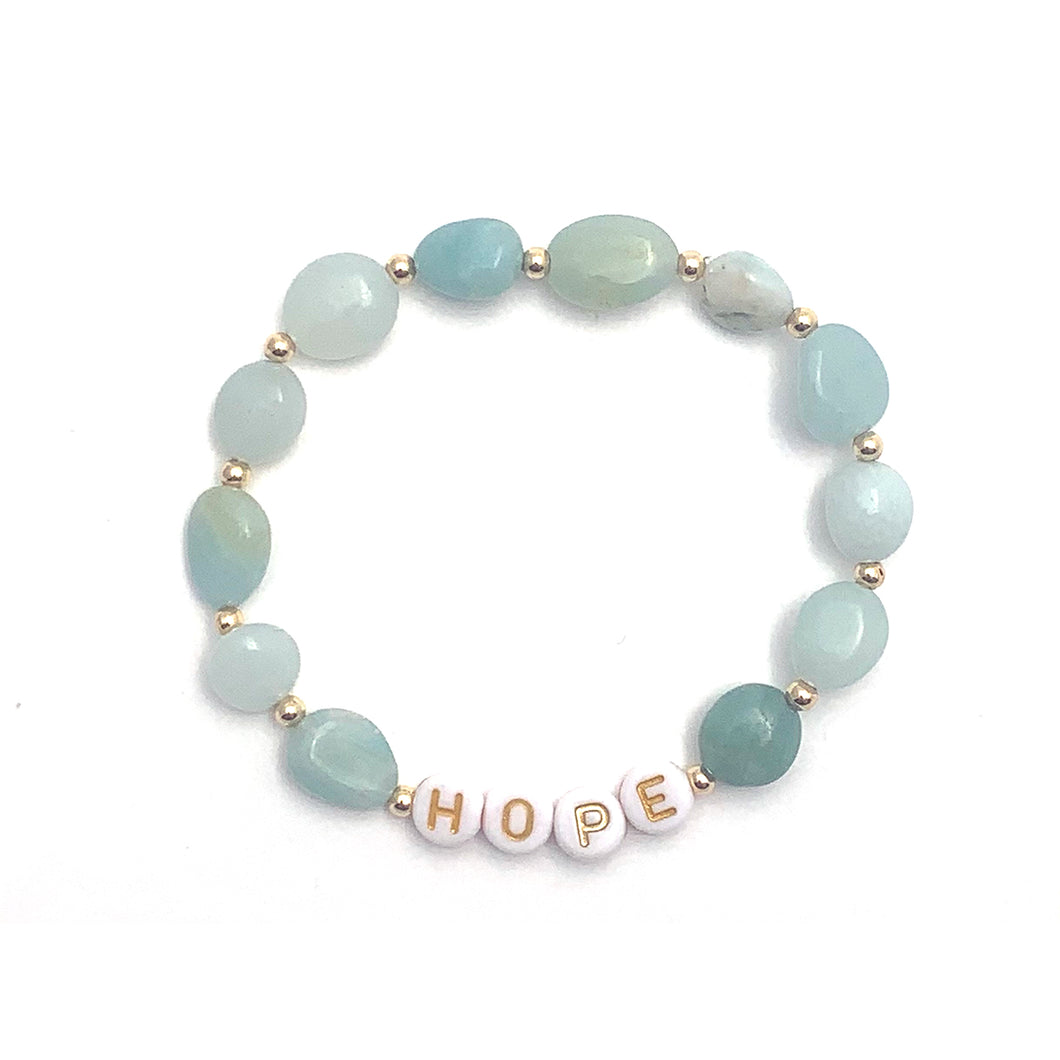 Wyse Design Australia Amazonite Intention Crystal Bracelet in Gold with Hope enamel letters