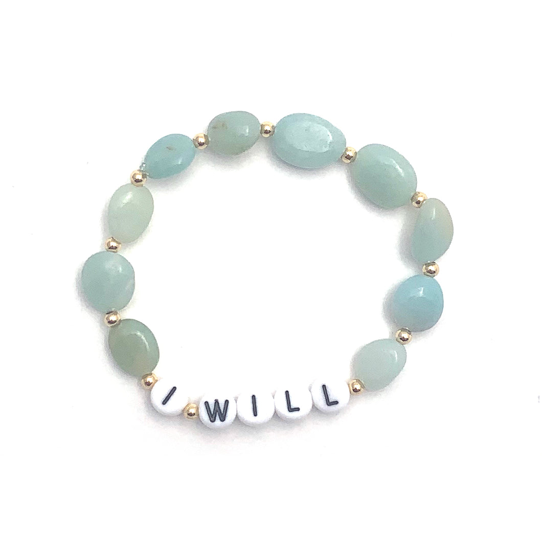 Wyse Design Australia Amazonite Intention Crystal Bracelet in Gold with I Will enamel letters
