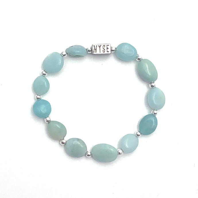 Wyse Design Australia Amazonite Crystal stacking Bracelet Silver stainless steel jewellery