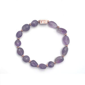 Wyse Design Australia Amethyst Crystal bracelet Rose gold plated jewellery