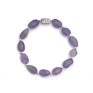 Wyse Design Australia Amethyst Crystal stacking Bracelet Silver stainless steel jewellery
