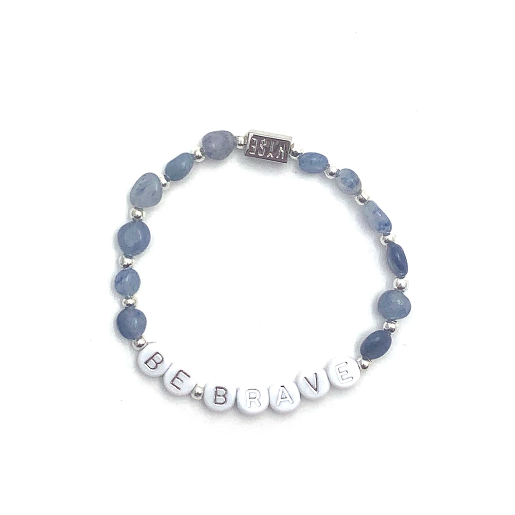 Blue Aventurine BE BRAVE Crystal Intention Bracelet - Silver