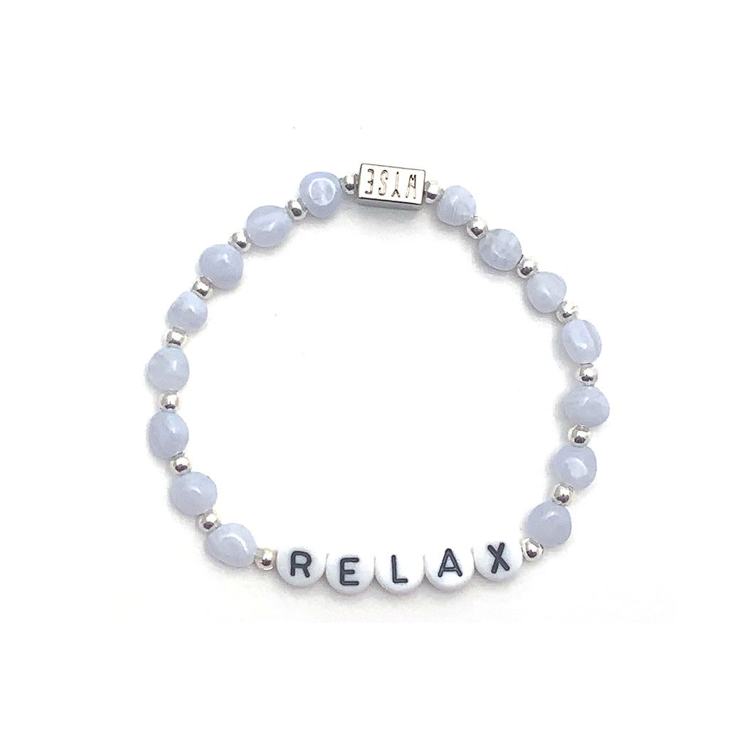Blue Lace Agate RELAX Crystal Intention Bracelet - Black/Silver