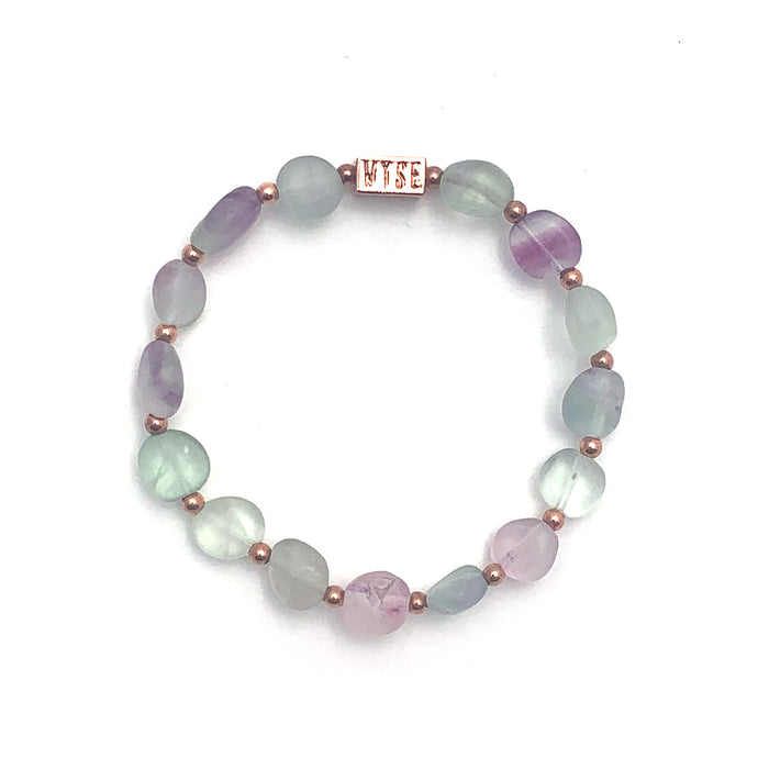 Wyse Design Australia Fluorite Crystal bracelet Rose gold plated jewellery