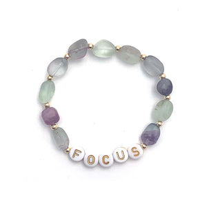 Fluorite FOCUS Crystal Intention Bracelet - Gold