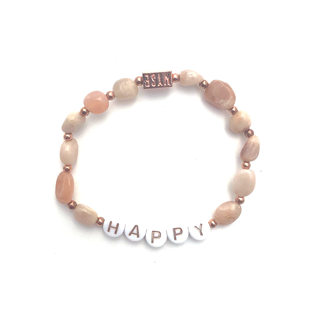 Sunstone HAPPY Crystal Intention Bracelet - Rose Gold