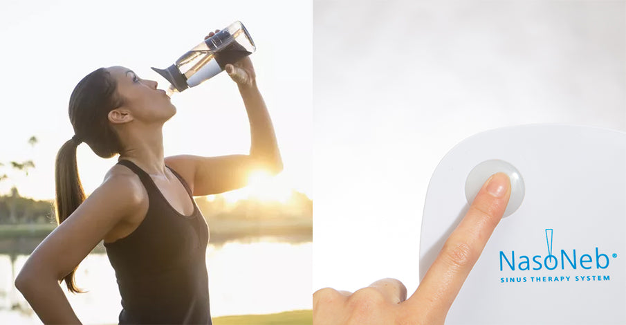 On the left, there is a woman drinking from a water bottle after exercising. On the right, there is a man who is filling a nasoneb sinus therapy system with solution.