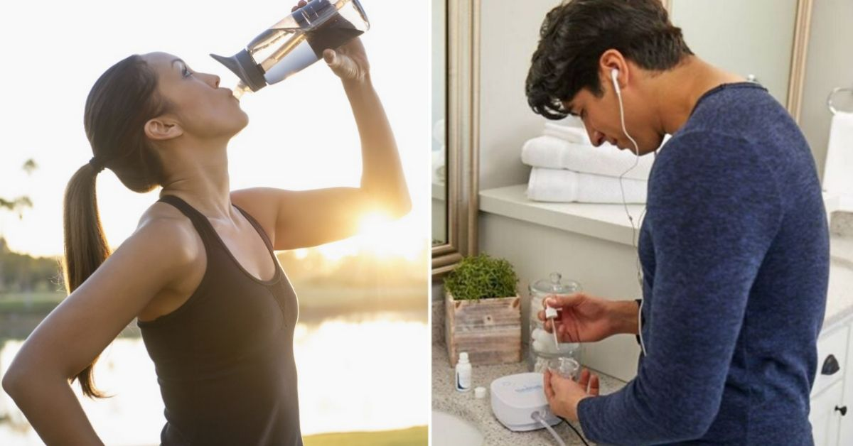 On the left, there is a woman drinking from a water bottle after exercising. On the right, there is a man using the NasoNeb Sinus Therapy System