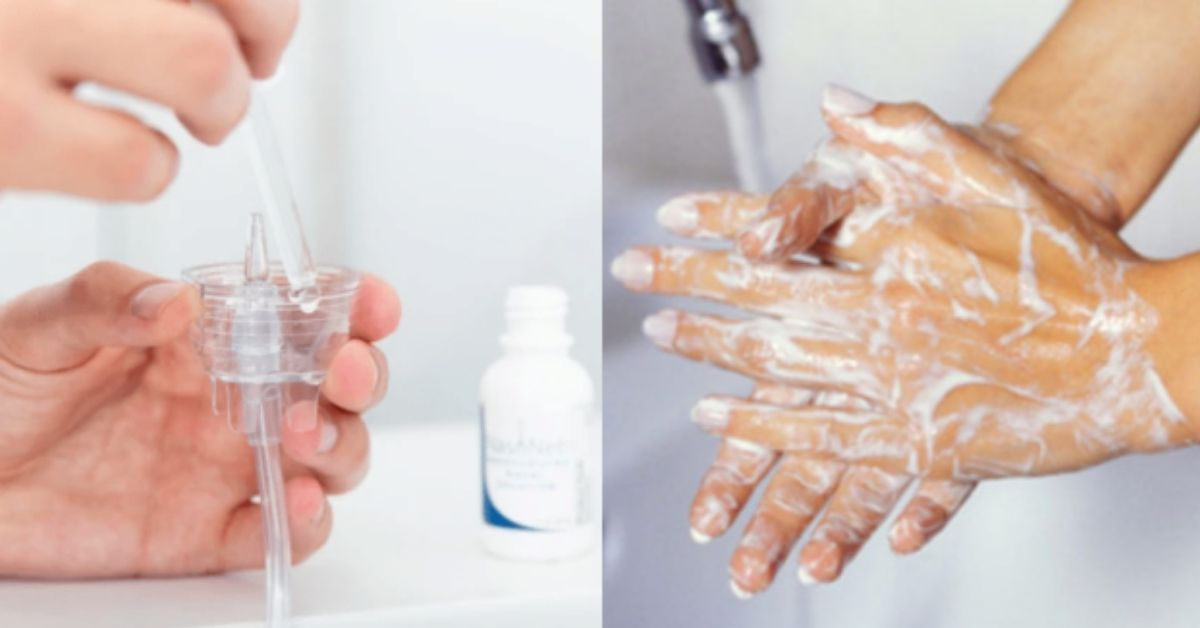 Hands filling a nasal pillow with solution on the left side and hands washing under s faucet with soap and water on the right side.