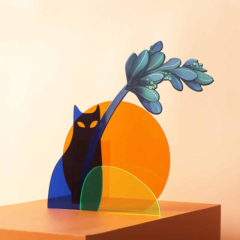Sunrise Series Cat Shaped Colorful Acrylic vase