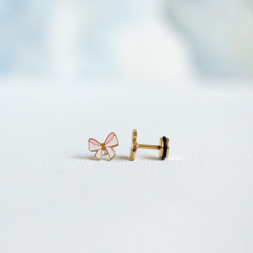 Blush Bow Screw Back Earring
