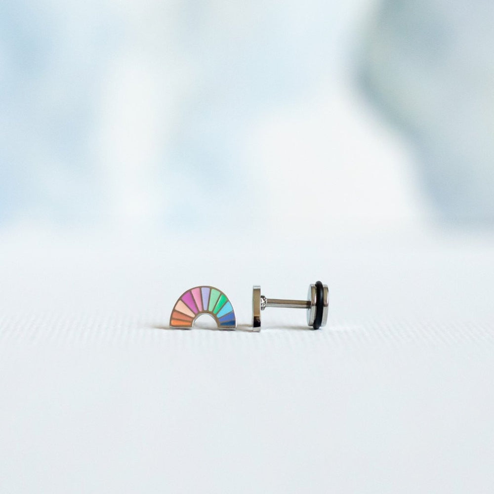 Pastel Rainbow Screw Back Earring