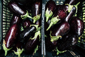Fresh aubergine from the market photo for printing