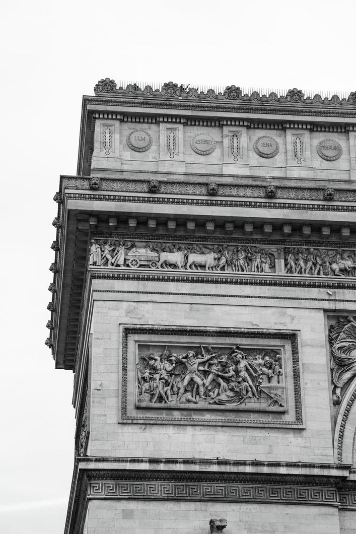 Triumphal arch in Paris photo black and white print