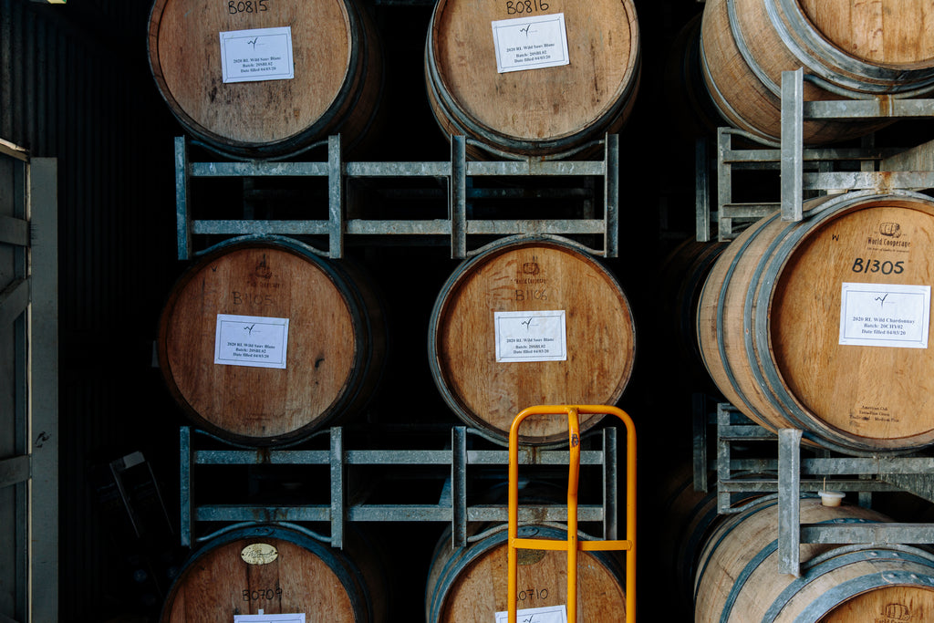 Oak Barrels in the Witches Falls' Shed