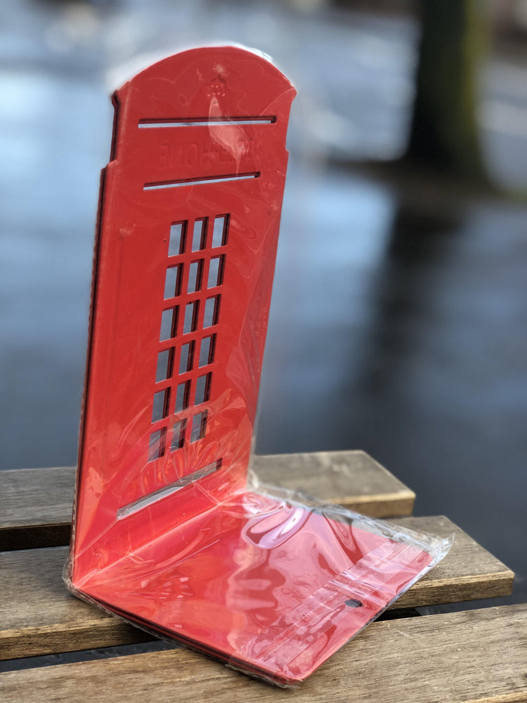 *FREE U.K. DELIVERY* Pair of Telephone Box Metal Bookends *Red Only* - Belfast Books
