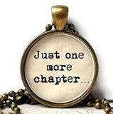 Just One More Chapter Booknerd Necklace Bookworm Gift Glass Antique Bronze 60cm Chain