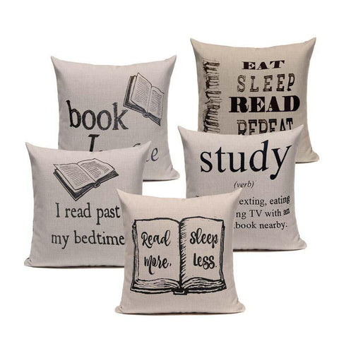 Book Tea Coffee Wine Cushion Covers Cotton With Linen 450mm x 450mm