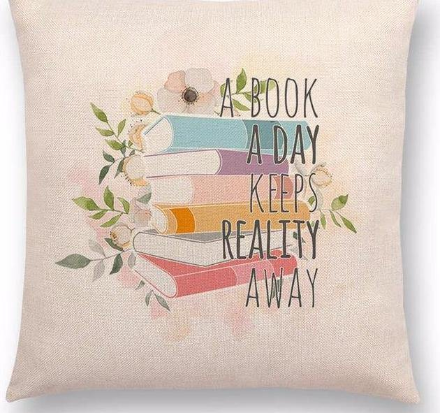 Reading and Books Themed Cushion Cover Tea Coffee Pastel Colours