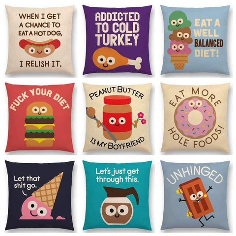 Funny Cartoon Food Hot Dog Hamburger Donuts Ice Cream Cushion Covers