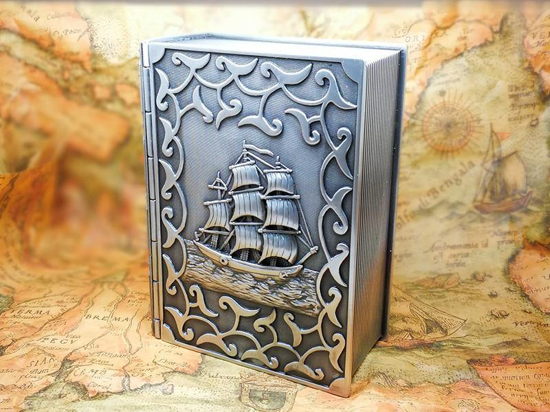 Zinc Alloy Book Shaped Jewellery or Trinket Box with Flower or Caribbean Boat Pattern 12.5cm x 9.5cm x 4.5cm - Belfast Books