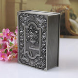 Zinc Alloy Book Shaped Jewellery or Trinket Box with Flower or Caribbean Boat Pattern 12.5cm x 9.5cm x 4.5cm