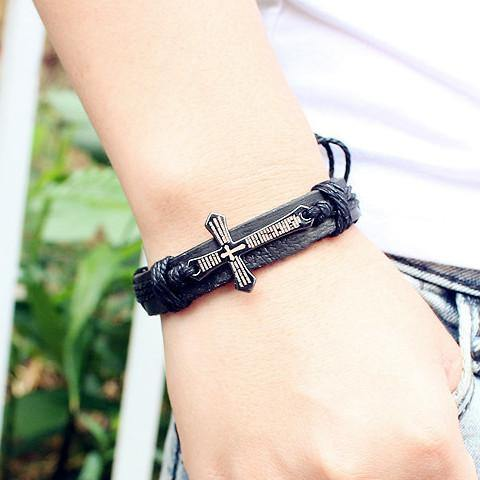 Cross Leather Vintage Bracelet - Belfast Books