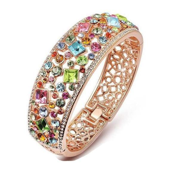 Colorful Crystal Stone Bangle - Belfast Books