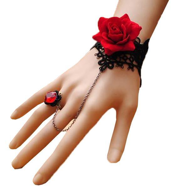 Red Rose Ring-to-Wrist Bracelet