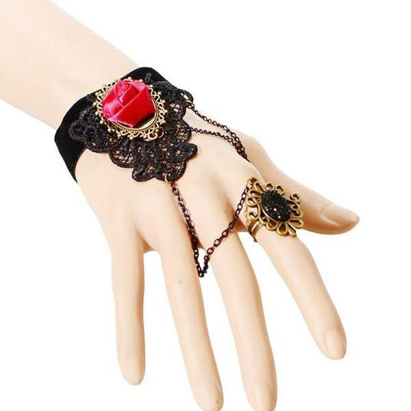 Deep Rose Ring-to-Wrist Bracelet