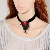 Black Lace Deep Rose Choker