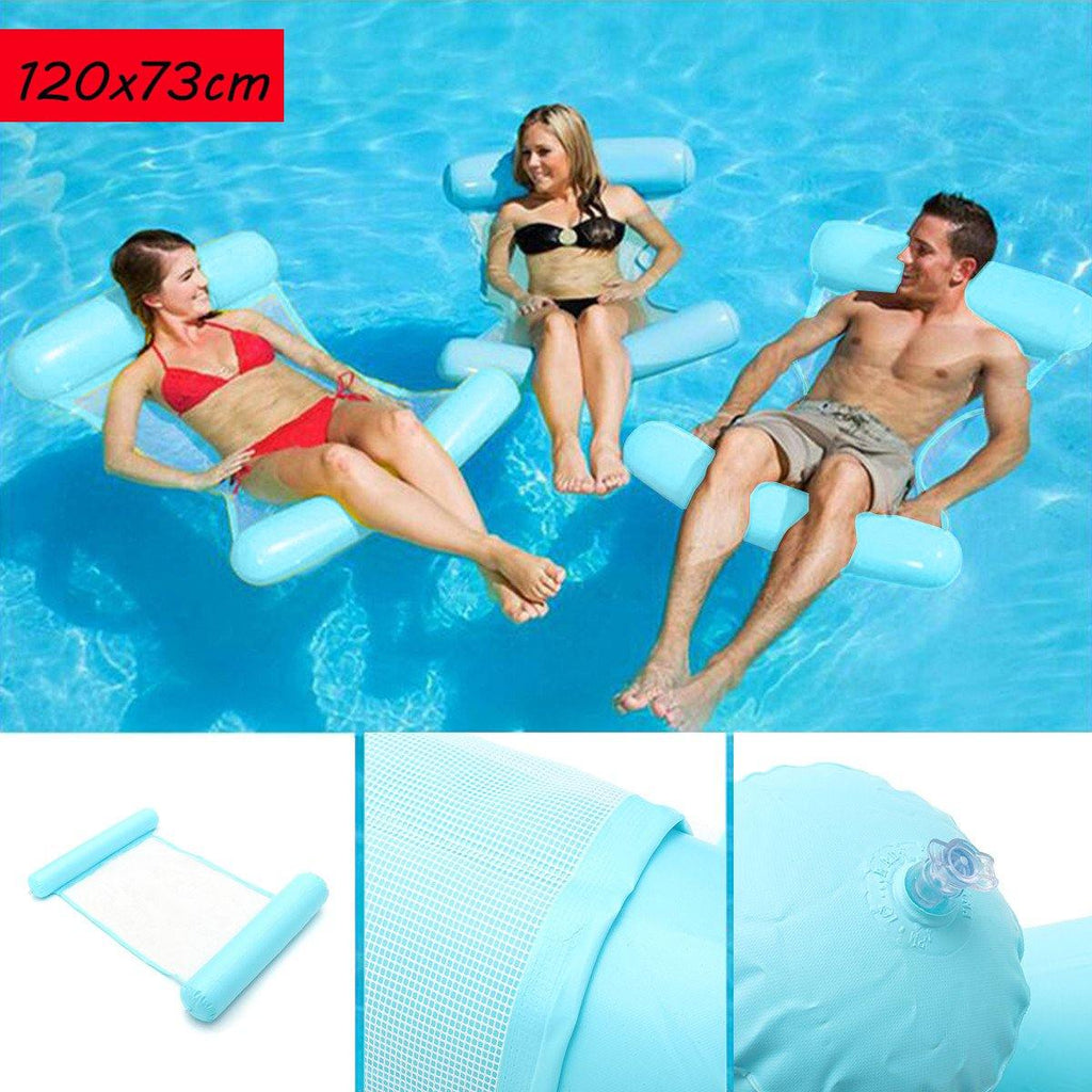 Floating Water Hammock Swimming Pool Lounge Float Bed Chair Inflatable Summer