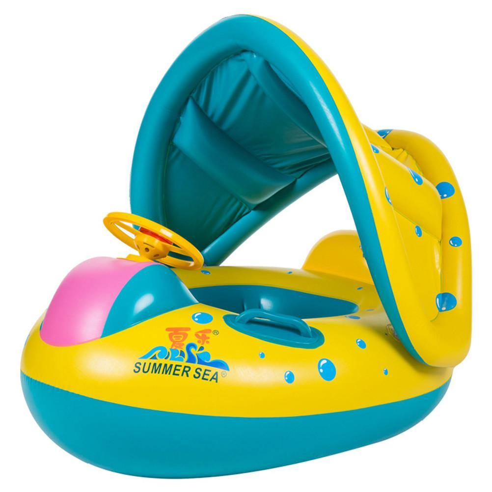 Baby Pool Float Baby Inflatable Swimming Ring with Sun Canopy Floating Toys Pool Boat Sunshade